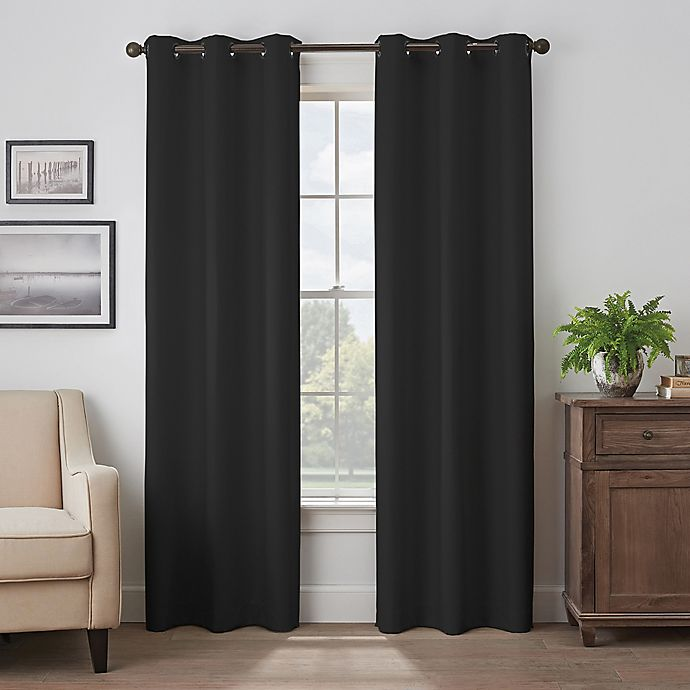 Alternate image 1 for Eclipse Martina 84-Inch Grommet Blackout Window Curtain Panel in Black