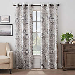 Eclipse Martina Medallion 108-Inch Grommet 100% Blackout Window Curtain Panel in Taupe
