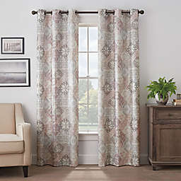 Eclipse Martina Medallion 63-Inch Grommet 100% Blackout Window Curtain Panel in Rose