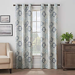 Eclipse Martina Medallion 63-Inch Grommet 100% Blackout Window Curtain Panel in Blue (Single)