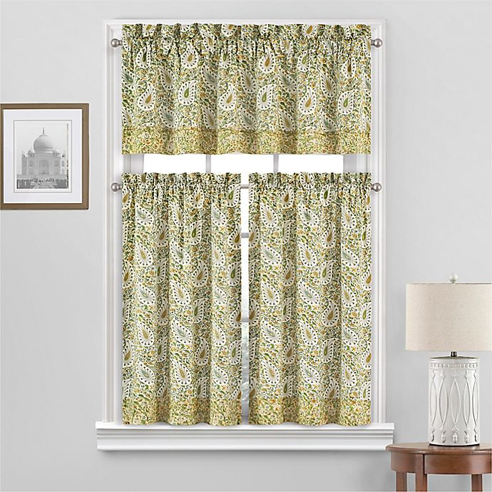 Alternate image 1 for Waverly® Paisley Verveine 2-Pack 36-Inch Window Curtain Tiers