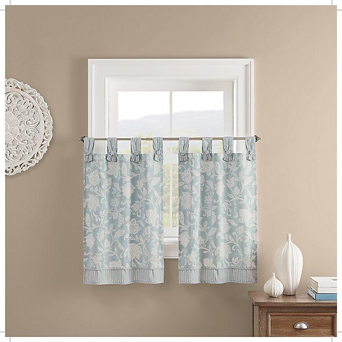 Alternate image 1 for Waverly Stencil Vine Light Filtering Window Curtain Tier Pair