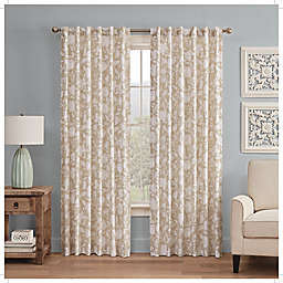 Waverly Stencil Vine Light Filtering 84-Inch Rod Pocket Window Curtain Panel in Linen