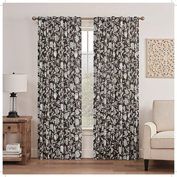 Alternate image 1 for Waverly Stencil Vine Light Filtering Rod Pocket Window Curtain Panel (Single)