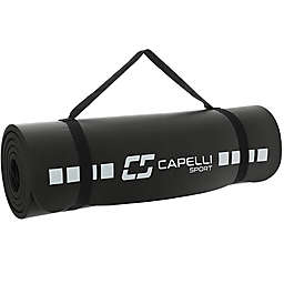Exercise Mat with Carry Strap in Black
