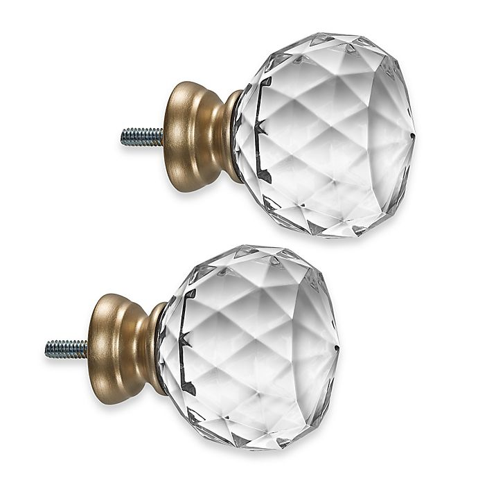 Cambria Premier Complete Faceted Ball Finials In Warm Gold Set Of 2 Bed Bath Beyond