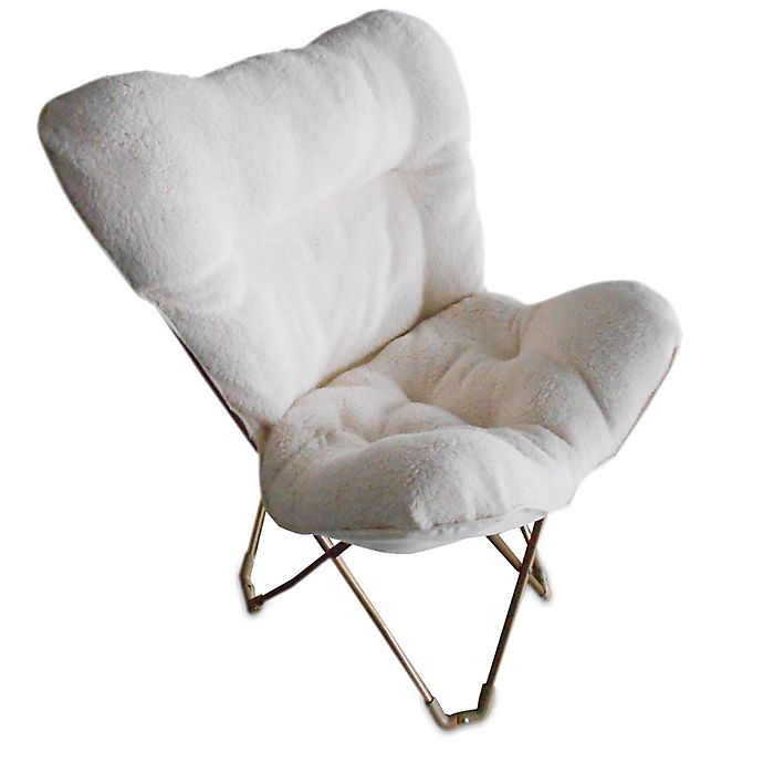 Folding Plush Butterfly Chair In Ivory Bed Bath Beyond