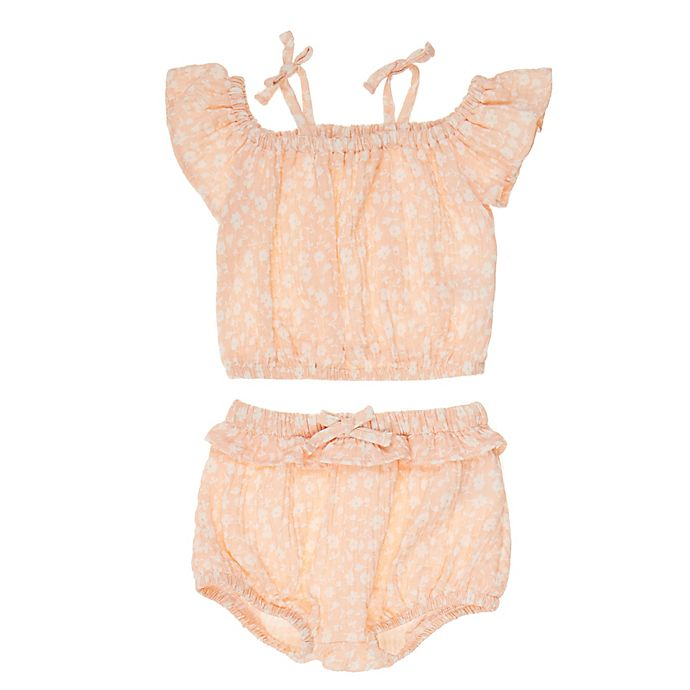 Alternate image 1 for Jessica Simpson 2-Piece Off-The-Shoulder Top and Short Set in Peach Floral