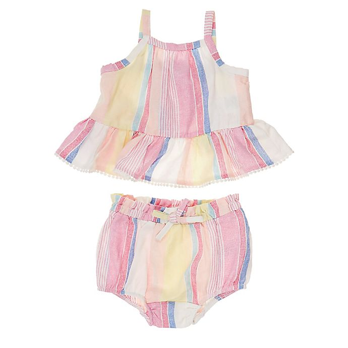 Alternate image 1 for Jessica Simpson 2-Piece Striped Ruffled Tank and Short Set