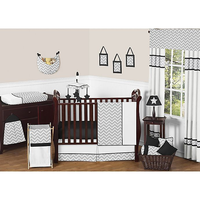 Alternate image 1 for Sweet Jojo Designs Zig Zag 11-Piece Crib Bedding Set in Grey/Black