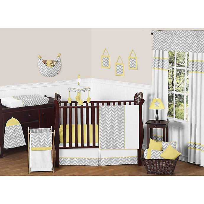 Alternate image 1 for Sweet Jojo Designs Zig Zag Chevron Crib Bedding Collection in Grey/Yellow