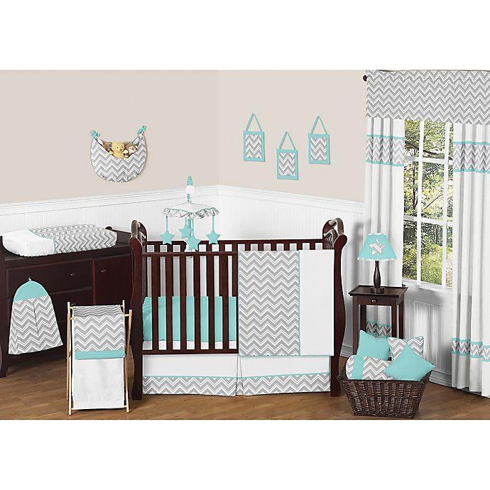 Alternate image 1 for Sweet Jojo Designs Zig Zag Chevron Crib Bedding Collection in Turquoise/Grey