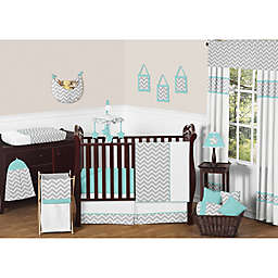 Sweet Jojo Designs Zig Zag Chevron Crib Bedding Collection in Turquoise/Grey