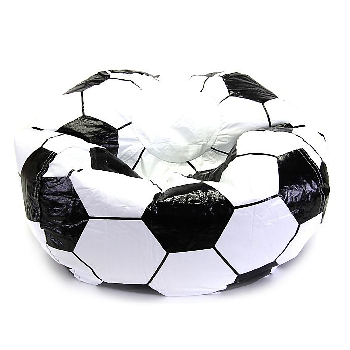 Sports Soccer Bean Bag Chair in Black/White | Bed Bath ...