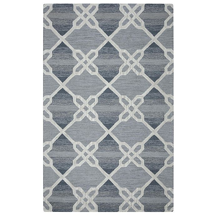 Alternate image 1 for Rizzy Home Caterine Diamond Hand-Tufted Wool 5-Foot x 8-Foot Area Rug in Blue