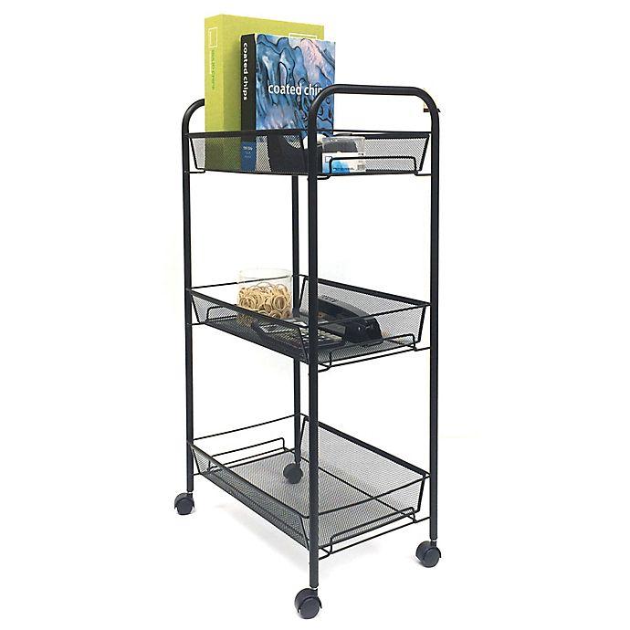 Alternate image 1 for Mind Reader 3-Shelf Metal Mesh Storage Cart in Black