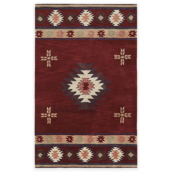 Alternate image 1 for Rizzy Home Southwest Center Star 5-Foot x 8-Foot Area Rug in Burgundy