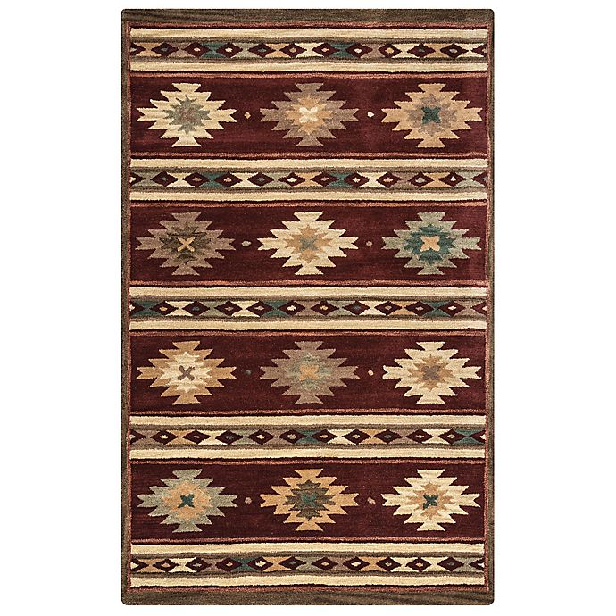 Alternate image 1 for Rizzy Home Southwest Stripe 3-Foot x 5-Foot Area Rug in Burgundy