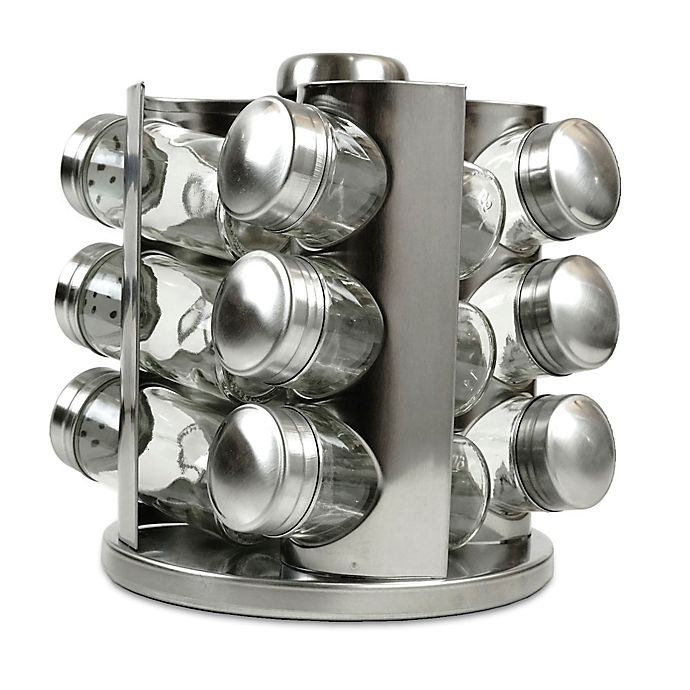 Alternate image 1 for Rotating Stainless Steel Spice Rack with Glass Jars