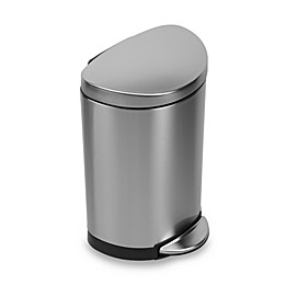 simplehuman® Brushed Stainless Steel Fingerprint-Proof Semi-Round 10-Liter Step-On Trash Can