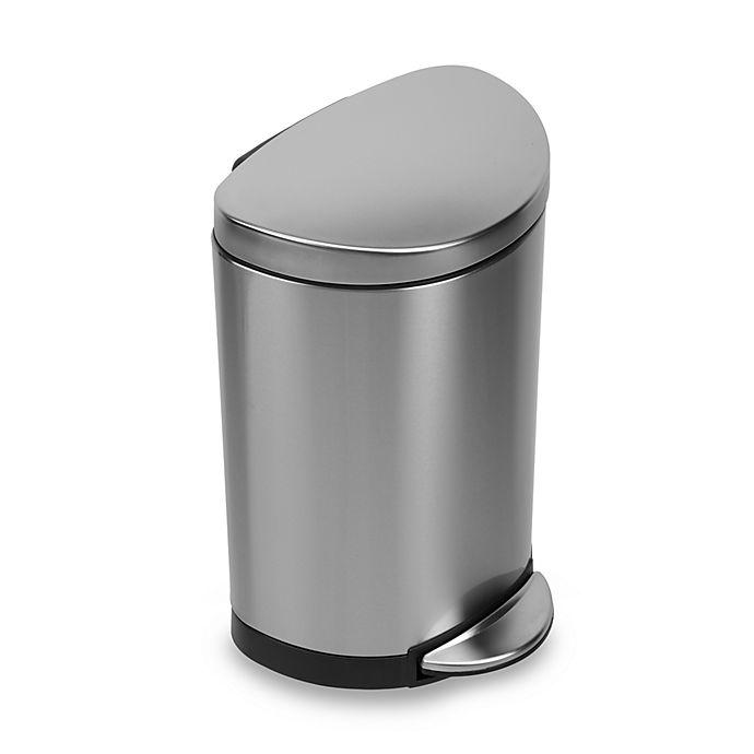 Alternate image 1 for simplehuman® Brushed Stainless Steel Fingerprint-Proof Semi-Round 10-Liter Step-On Trash Can