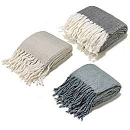 Aura Reversible Wool Blend Throw Blanket