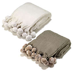 Aura Pompom Wool Blend Throw Blanket