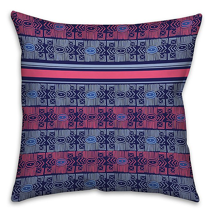 Alternate image 1 for Abstract Tribal Square Pillow in Blue/Pink