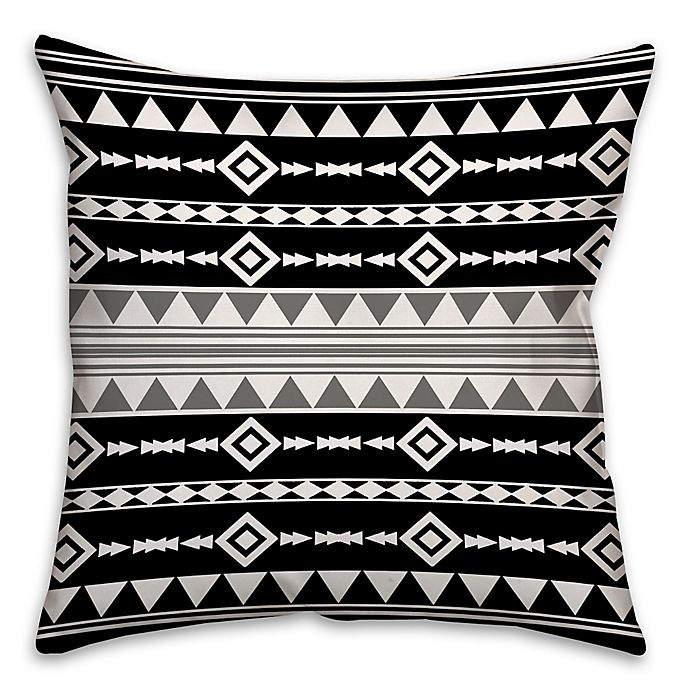 Alternate image 1 for Boho Tribal Square Throw Pillow with Grey Accent in Black/White