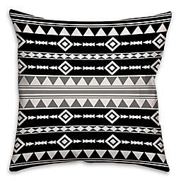 Boho Tribal Square Throw Pillow with Grey Accent in Black/White