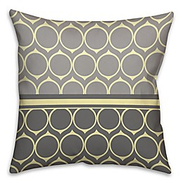 Toothed Circle Pattern Square Throw Pillow in Yellow/Grey
