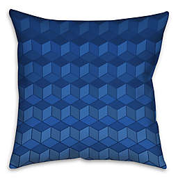 Geometric Cube-Pattern Throw Pillow in Navy