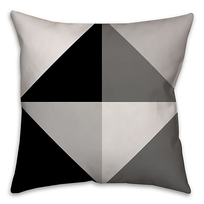 Alternate image 1 for Greyscale Color Block Square Throw Pillow in Black/Grey