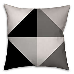 Greyscale Color Block Square Throw Pillow in Black/Grey