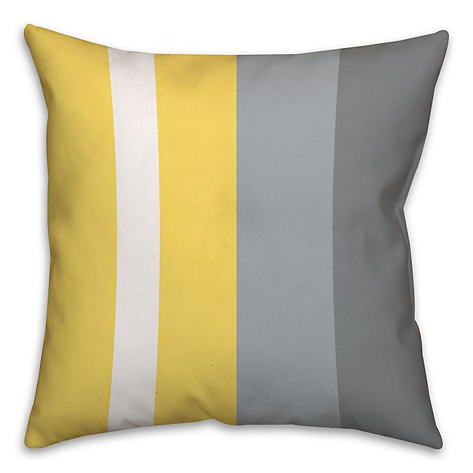 Alternate image 1 for Striped Color Block Square Throw Pillow in Yellow/Grey