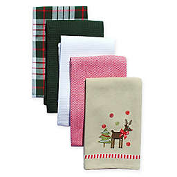 holiday reindeer 5 pack kitchen towels