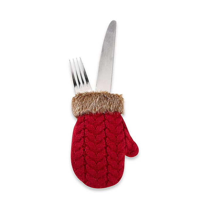 Alternate image 1 for Knit Mini Mitten Utensil Holders (Set of 4)