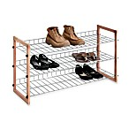 3-Shelf Wooden/Metal Shoe Rack