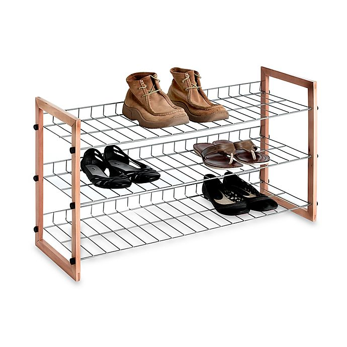 Alternate image 1 for 3-Shelf Wooden/Metal Shoe Rack