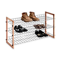 3 Shelf Wooden Metal Shoe Rack