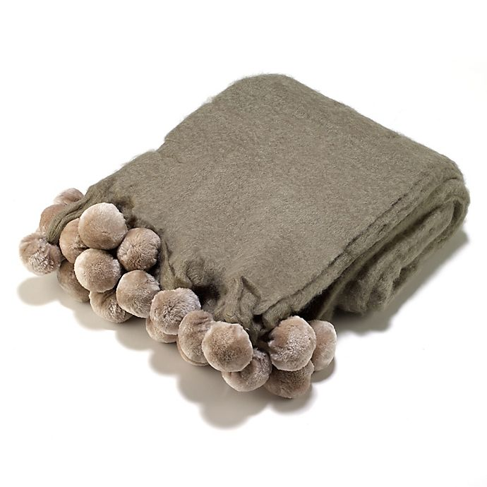 Alternate image 1 for Aura Pompom Wool Blend Throw Blanket in Taupe