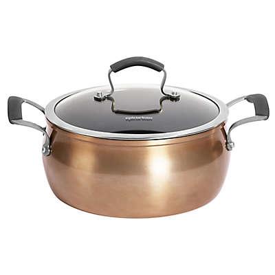Epicurious Aluminum Nonstick 5 qt. Covered Chili Pot in Copper