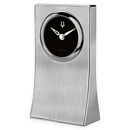 Bulova Obelisk Table Clock in Brushed Aluminum