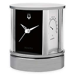 Bulova President Desk Clock in Brushed Aluminum