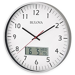 Bulova Manager 14-Inch Wall Clock in Brushed Aluminum