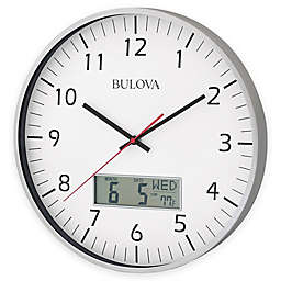 Bulova Manager Wall Clock in Brushed Aluminum