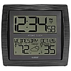 La Crosse Technology Curved Atomic Wall Clock with In/Outdoor Temperature in Black