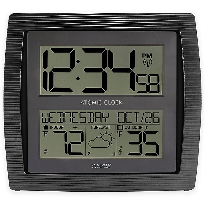 Alternate image 1 for La Crosse Technology Curved Atomic Wall Clock with In/Outdoor Temperature in Black