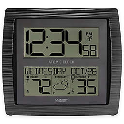 La Crosse Technology Curved Atomic Wall Clock With In Outdoor Temperature Black