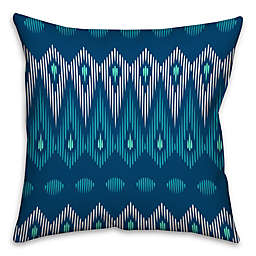 Indie Tribal Square Throw Pillow in Blue